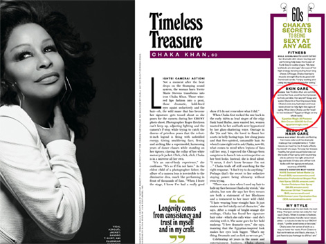 Chaka Khan o Egyptian Magic v Ebony Magazine